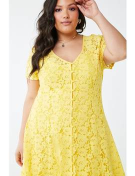 Plus Size Sheer Floral Lace Dress by Forever 21