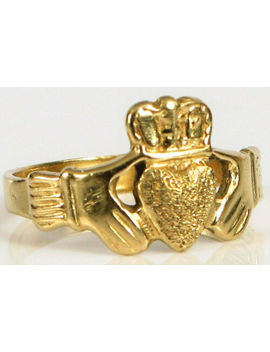 Vintage 14 K Yellow Gold Designer Signed Abr ? Fine Fashion Claddagh Ring S6 ! by Ebay Seller