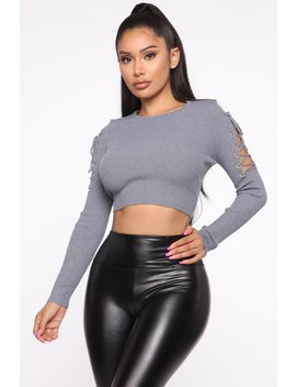 Tied Up In Your Love Sweater   Heather Grey by Fashion Nova