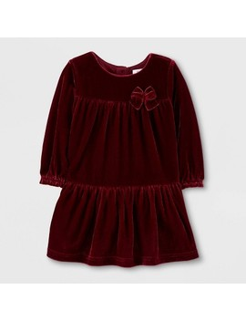 Toddler Girls' Long Sleeve Holiday Velvet Dress   Just One You® Made By Carter's Maroon by Just One You® Made By Carter's Maroon