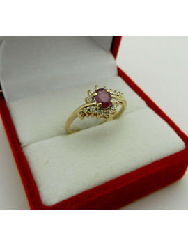 Vintage 10k Yellow Gold Ruby Ring With Diamonds Accent Size 5 by Unbranded