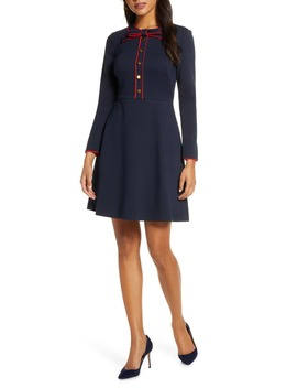 Bow Neck Long Sleeve A Line Dress by 1901