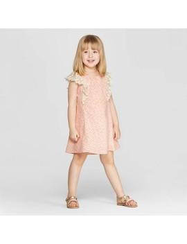 Mila & Emma Toddler Girls' Sleeveless Ruffle Shift Dress   Pink by Pink