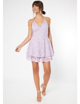 Purple Lace Open Back Skater Dress by Rue21