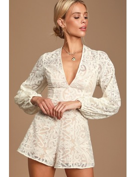 Sofia Ivory Lace Long Sleeve Romper by Finders Keepers