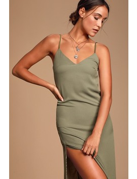 Perfect For You Sage Green Midi Column Dress by Lulus