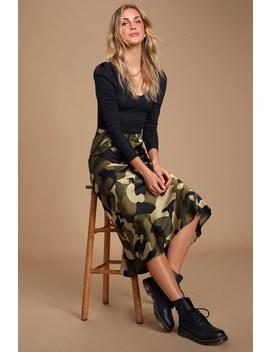 Love Actually Green Camo Print Satin Midi Skirt by Lulus