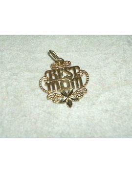 Vtg Solid 14 K Yellow Gold 'best Mom' Charm Pendant Diamond Cut .9 Grams by Ebay Seller