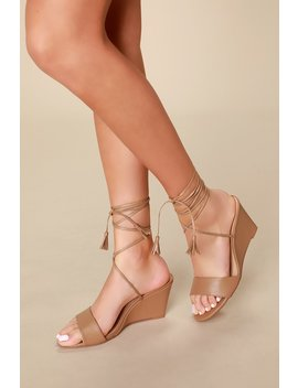 Lindzee Sand Lace Up Wedges by Lulu's