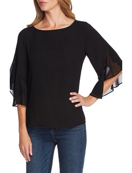Chiffon Detail Ruffle Sleeve Blouse by Vince Camuto