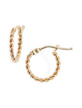 14 K Gold Large Twisted Rope Hoop Earrings by Bony Levy