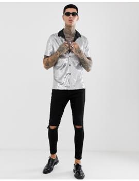 Asos Design Festival Regular Fit Silver Sequin Shirt With Revere Collar by Asos Design