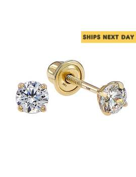 14k Solid Yellow Gold Basket Set Round Cz Stud Earrings, Screw Back Cz Studs, Sleeper Cz Studs, Simulated Diamond, Unisex by Etsy