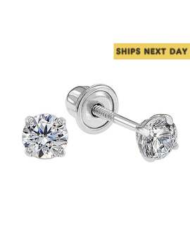 14k Solid White Gold Basket Set Round Cz Stud Earrings, Screw Back Cz Studs, Sleeper Cz Studs, Simulated Diamond, Unisex by Etsy