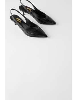 Leather Mid  Heel Slingbacks Leather Shoes Woman by Zara