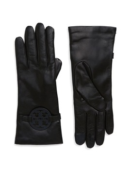 Miller T Logo Leather Gloves by Tory Burch