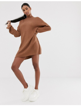 Missguided Ribbed Sweater Dress With High Neck In Mocha by Missguided's