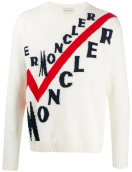 Logo Ribbed Crew Neck Jumper by Moncler