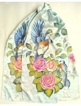 Hand Painted Silk Scarf 'birds'. Silk Sarf Handpainted. Silk Scarf With Birds And Roses. 18/67 Inches. by Etsy