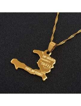 Haiti Necklace 18k Gold Plated,Haiti Necklace,Haitian ,Haiti Men Necklace , Necklace Haitian, Jewelry Haitian, Haiti Pendant ,Haiti Jewelry by Etsy
