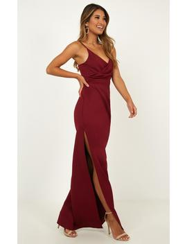 Linking Love Maxi Dress In Wine by Showpo Fashion