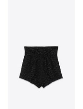 Smocked High Rise Shorts In Crocodile Satin by Saint Laurent