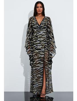 Peace + Love Black Animal Print Embellished Kimono Sleeve Maxi Dress by Missguided