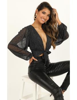 Head Over Heels Top In Black Lurex by Showpo Fashion
