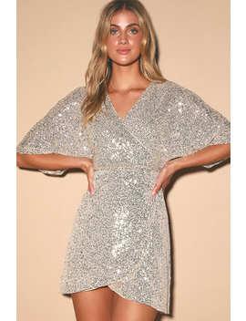 Weekender Silver Sequin Faux Wrap Mini Dress by Lulus