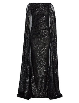 Matrix Micro Sequin Cold Shoulder Cape Gown by Talbot Runhof