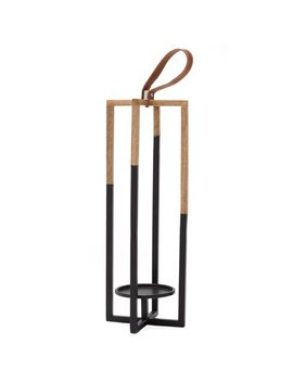 Mo Drn Matte Black And Wood Lantern by Mo Drn