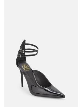 Black Patent Double Ankle Strap Court Shoes by Missguided