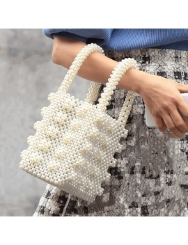 Pearls Bag For Women Top Handle Womens Bags Beaded Box Totes Handbags Ladies Handbags Famous Brands Chic Banquet Clutches Purse by Ali Express.Com