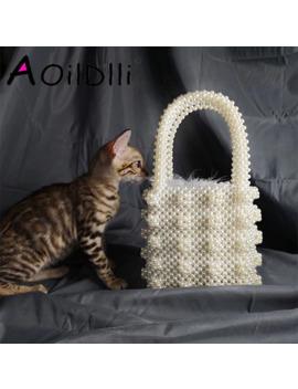 Handmade Pearl Lady Tote Luxury Handbags Small Box Evening Bag Fashion Vintage Female Top Handle Purse Chic Ins Box Bag Brand by Ali Express.Com