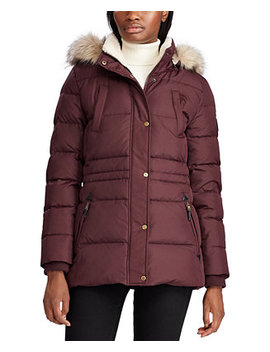 Petite Faux Fur Trim Down Puffer Coat, Created For Macy's by General