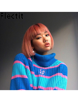 Flectit Womens Striped Roll Neck Jumper Sweater With Embroidered Letter Lazy Turtleneck Oversized Chunky Knit Pullovers by Ali Express.Com