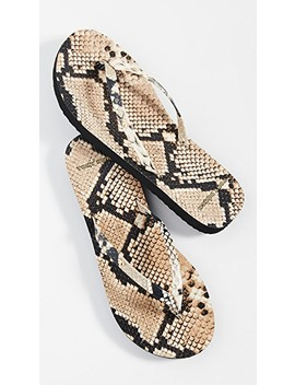 Printed Leather Flip Flops by Tory Burch