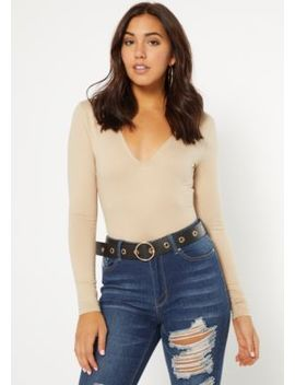 Nude V Neck Super Soft Long Sleeve Bodysuit by Rue21