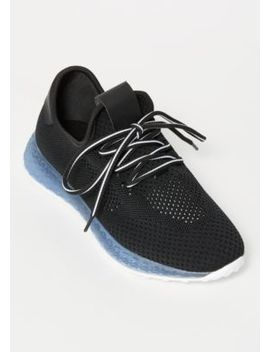 Black Knit Gel Sold Trainers by Rue21