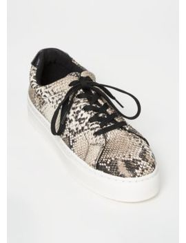 Snakeskin Print Faux Leather Lace Up Sneakers by Rue21