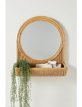 Hazel Round Rattan Mirror by Anthropologie