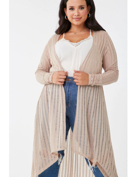 Plus Size Shadow Striped Cardigan by Forever 21