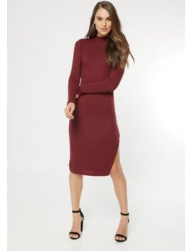 Burgundy Mock Neck Side Slit Midi Sweater Dress by Rue21