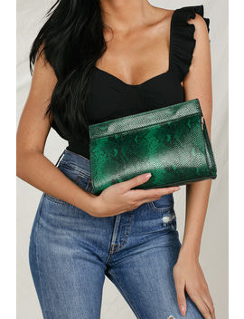 She's A Charmer Green Snake Embossed Clutch by Lulus