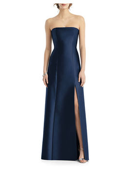Strapless Sateen Twill Gown With Slit by Alfred Sung