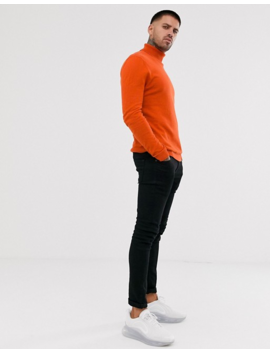 Asos Design Cotton Roll Neck Sweater In Orange by Asos Design