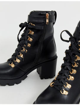 Public Desire Swag Black Chunky Lace Up Boots With Gold Hardware by Public Desire