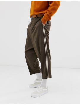 Asos Design Drop Crotch Tapered Crop Smart Pants In Mushroom by Asos Design