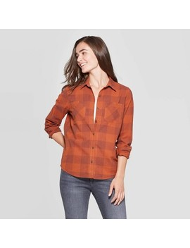 Women's Plaid Long Sleeve Cotton Flannel Shirt   Universal Thread Rust by Universal Thread Rust