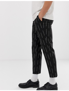 Asos Design Slim Crop Pants In Black With Waterfall Stripe by Asos Design